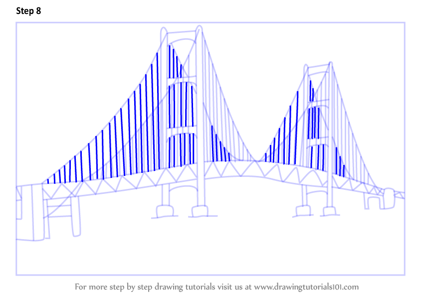 Learn How To Draw Mackinac Bridge Bridges Step By Step