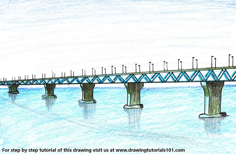 Padma Bridge Color Pencil Drawing