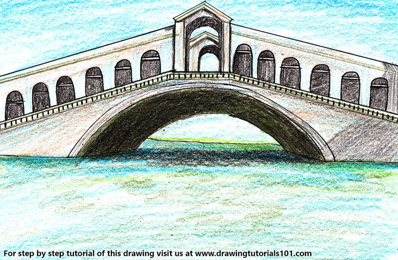 Rialto Bridge Color Pencil Drawing