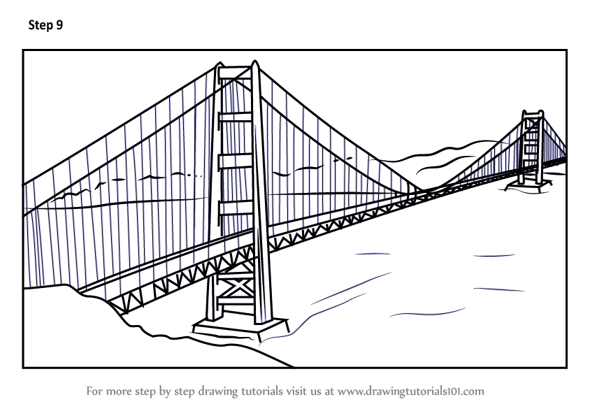 Learn How To Draw The Golden Gate Bridge Bridges Step By