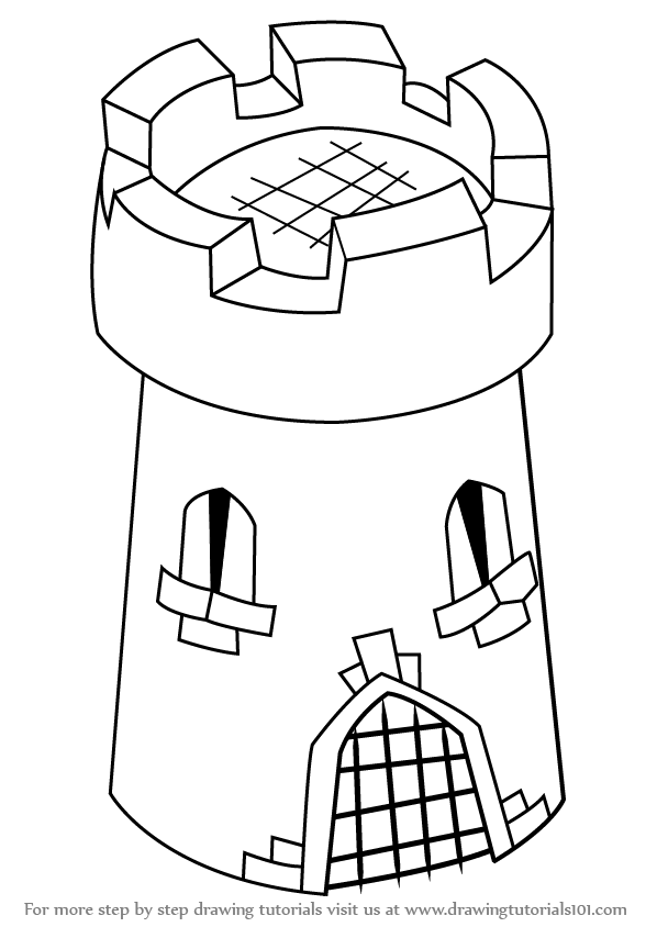 how to draw 3d castle tower for kids