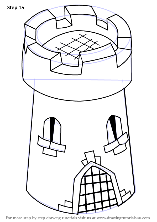 Learn How To Draw 3d Castle Tower For Kids Castles Step
