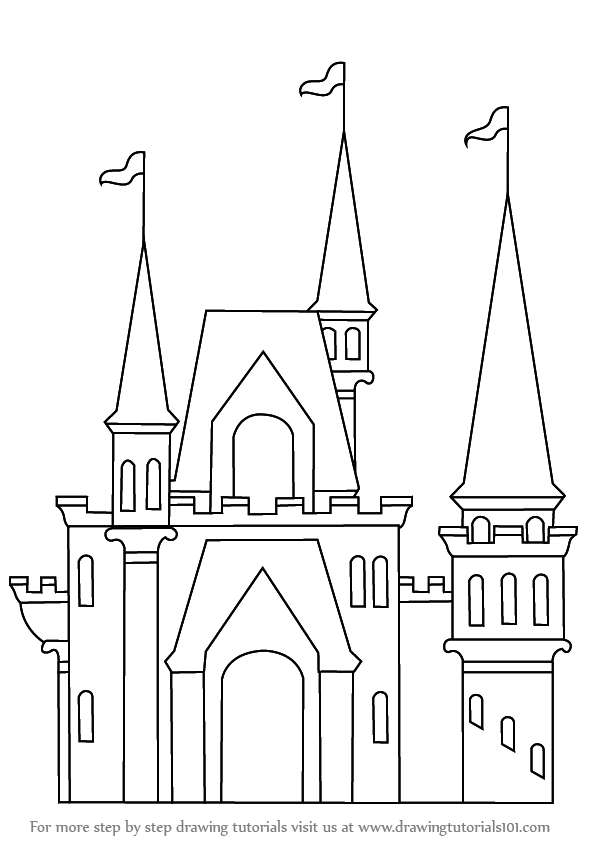 how to draw a castle for kids