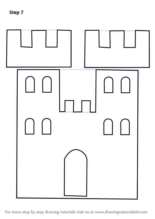 how to draw a castle step by step 3d