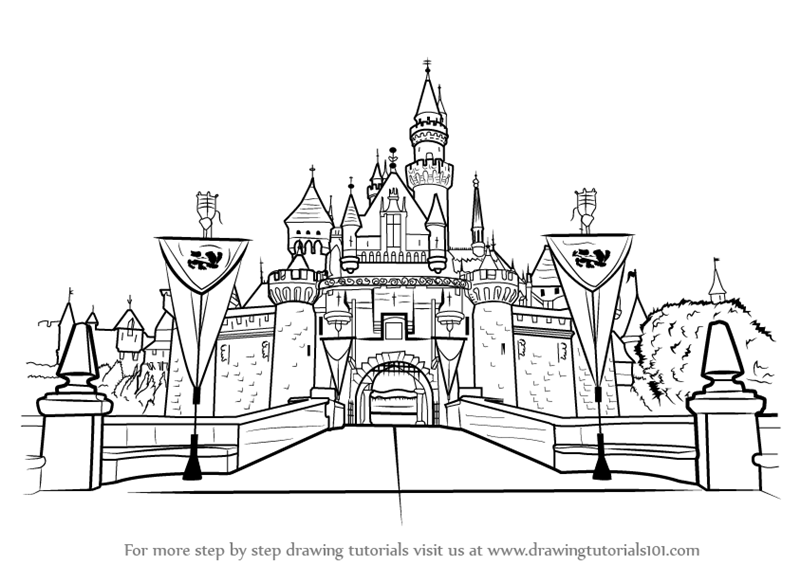 learn how to draw disneyland castle castles step by step drawing