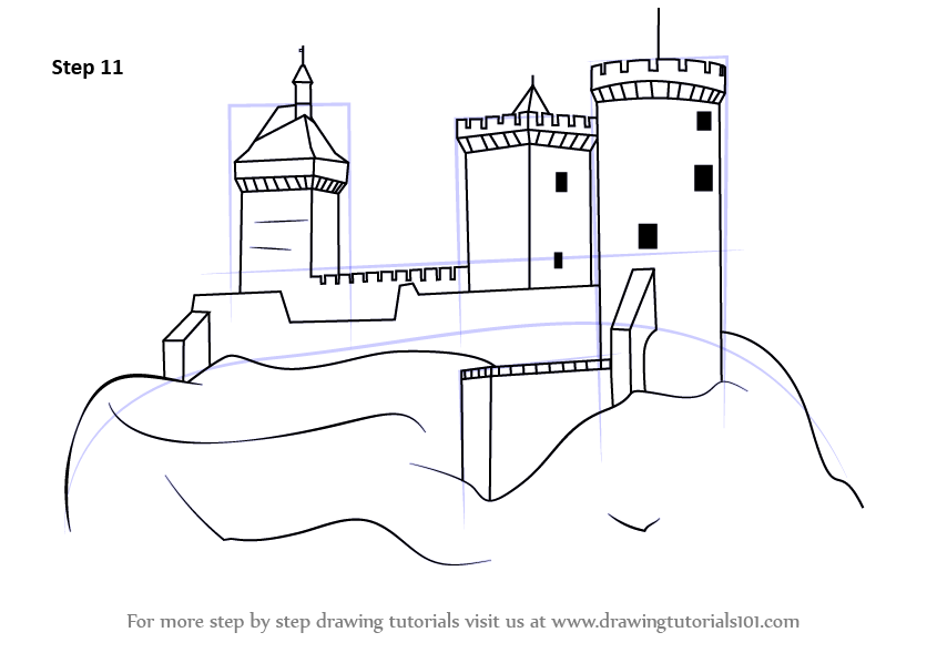 learn how to draw a medieval castle  castles  step by step