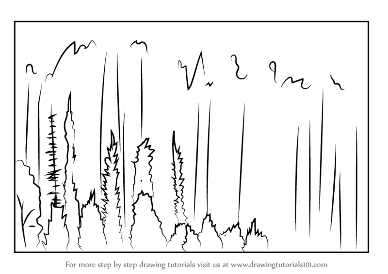 how to draw a forest step by step