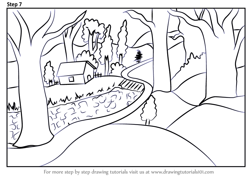 Learn How To Draw A Forest Scene Forests Step By Step