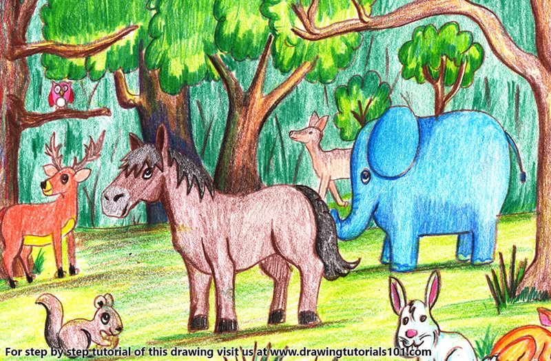 Forest with Animals Color Pencil Drawing
