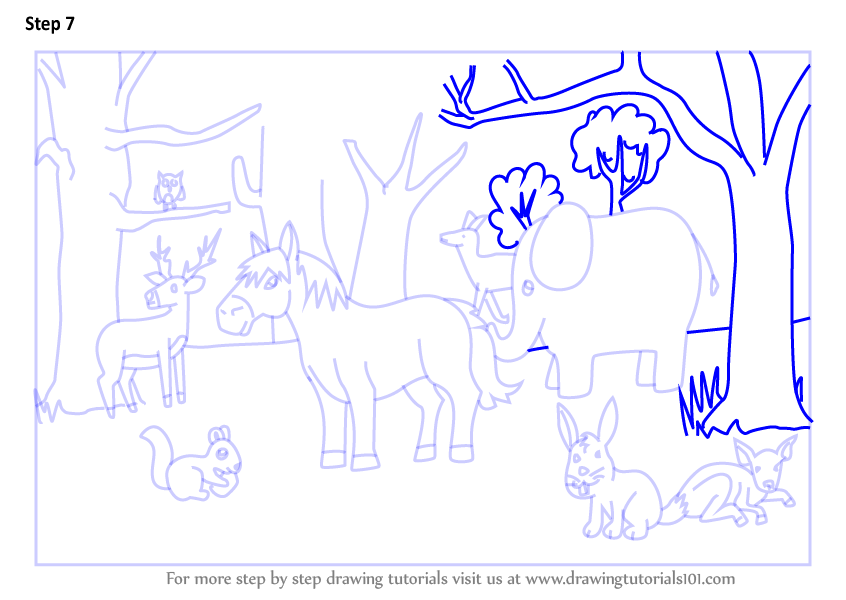 how to draw forest with animals