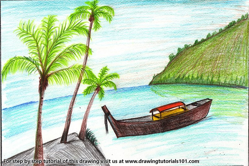 Boat on the Beach Scene Color Pencil Drawing