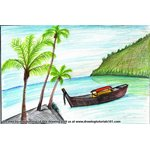 How to Draw Boat on the Beach Scene