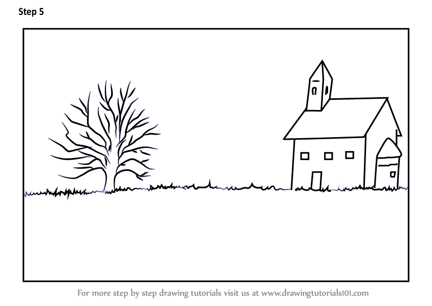 Learn How To Draw A Church Landscape Landscapes Step By