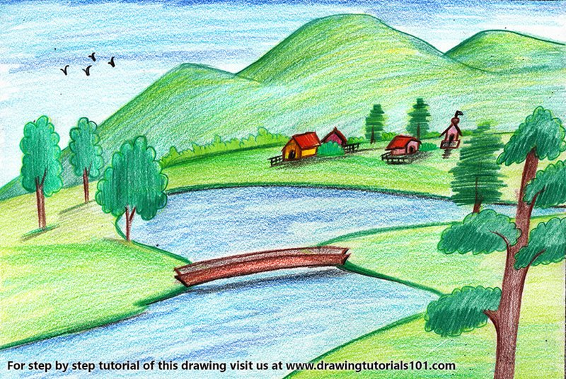 Easy Landscape Color Pencil Drawing