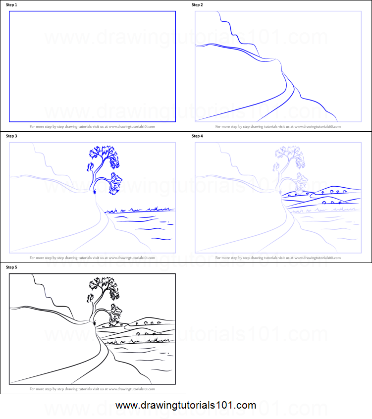 How to Draw a Moutain Road Scene printable step by step drawing ...