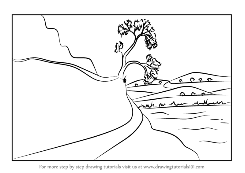 Learn How to Draw a Moutain Road Scene (Mountains) Step by Step ...