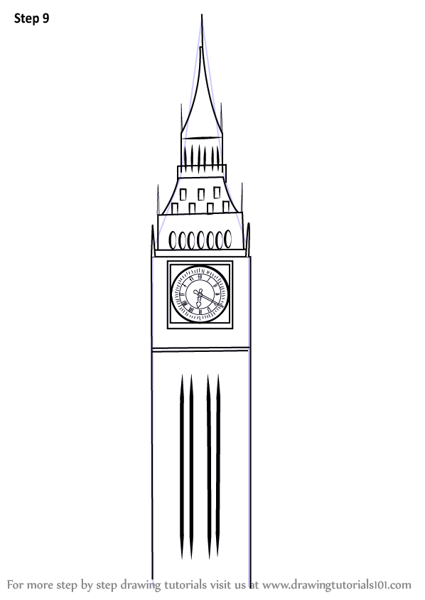 Learn How To Draw Big Ben Other Places Step By Drawing Tutorials