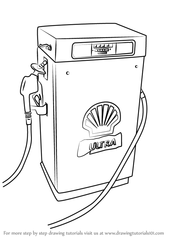 Learn How to Draw a Gas Pump (Other Places) Step by Step