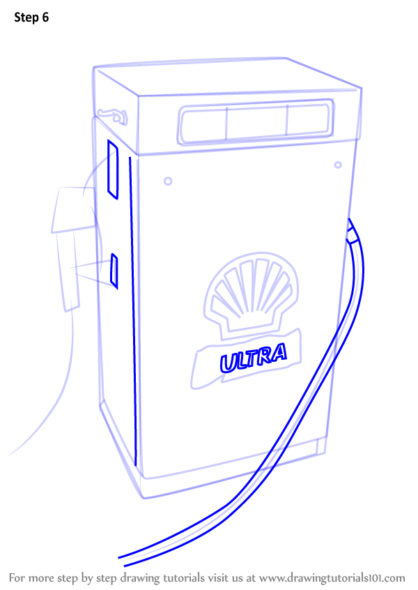 Learn How To Draw A Gas Pump Other Places Step By Step Drawing Tutorials