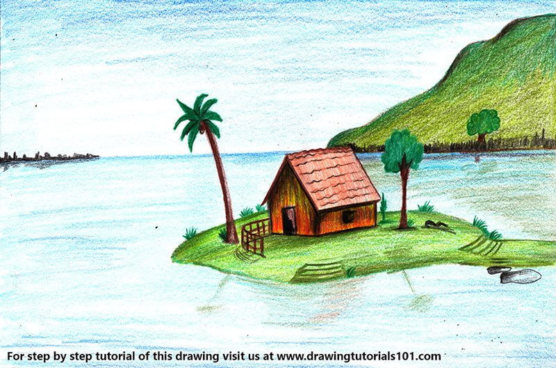 Island Scenery Colored Pencils Drawing Island Scenery With