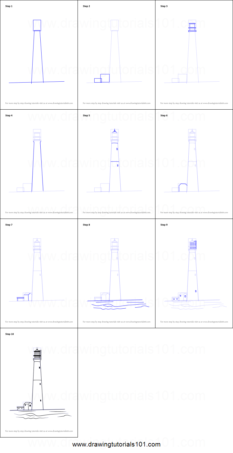 how to draw lighthouse at beach printable step by step drawing sheet