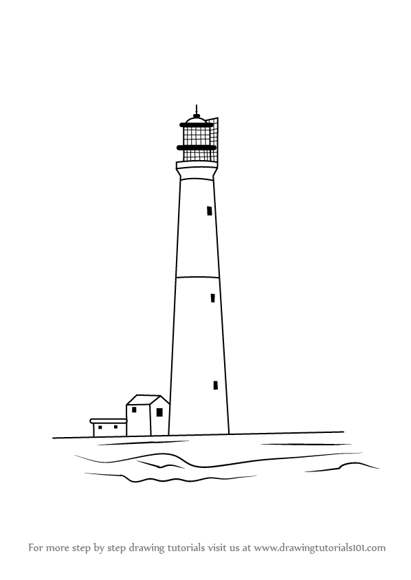 Step By Drawing Tutorial On How To Draw Lighthouse At Beach