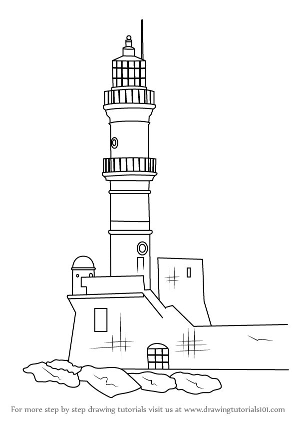 How to draw an old lighthouse