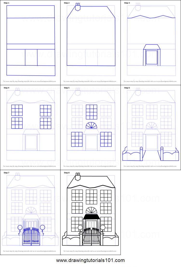 How to draw a mansion printable step by step drawing sheet for How to make a house step by step