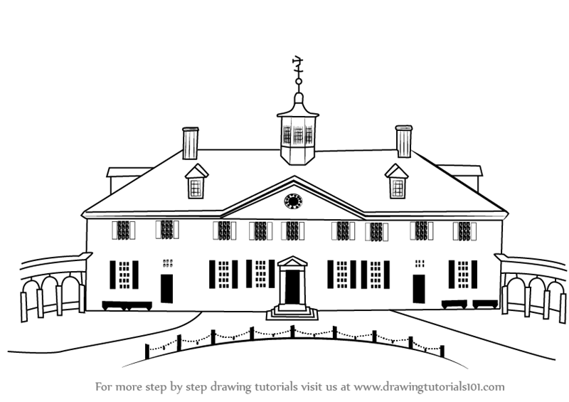 Learn How To Draw Mount Vernon Other Places Step By Step
