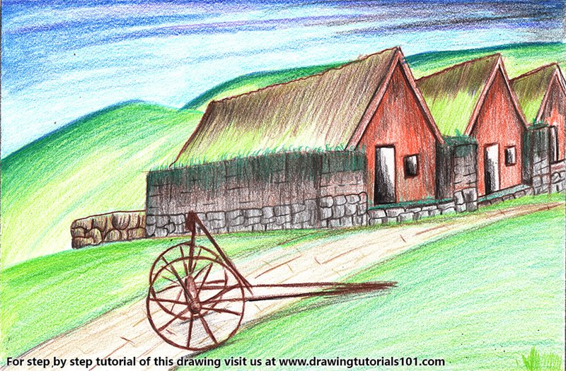 Old Farmhouse Color Pencil Drawing