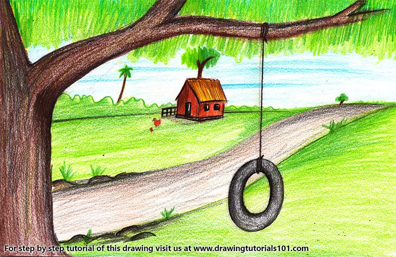 Tire Swing on Tree Color Pencil Drawing