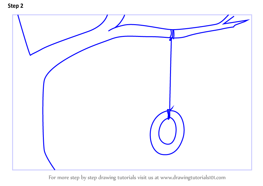 Learn How To Draw Tire Swing On Tree Other Places Step By