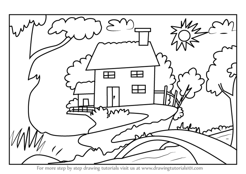 Learn How To Draw Tree Cottage Other Places Step By Step Drawing
