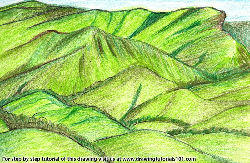 Kudremukh National Park Color Pencil Drawing