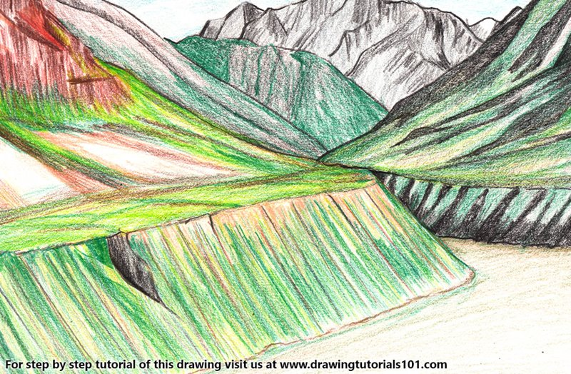 Pin Valley National Park Color Pencil Drawing