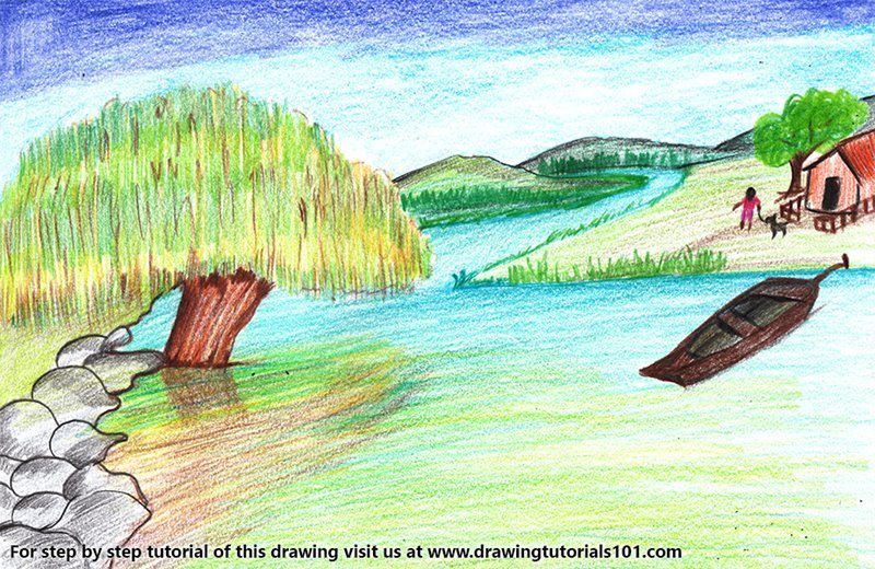 Riverside Scenery Color Pencil Drawing