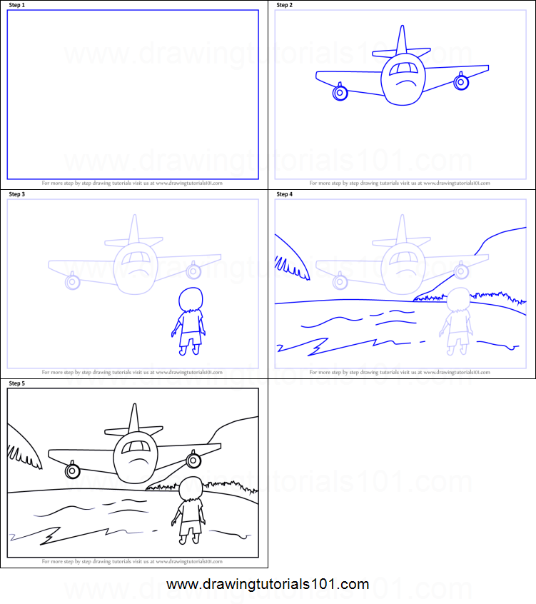 How To Draw An Airplane Over Beach Scene Printable Step By Drawing Sheet DrawingTutorials101