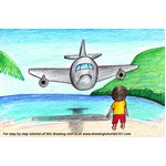 How to Draw an Airplane over Beach Scene