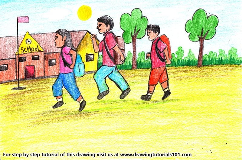 Back to School Scene Color Pencil Drawing
