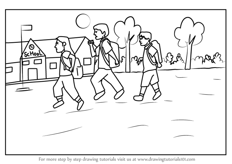 Learn How to Draw Back to School Scene (Scenes) Step by Step ...