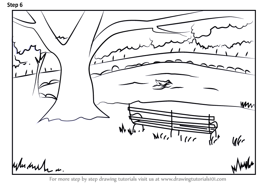 Learn How To Draw A Bench Under Tree Scenery Scenes Step