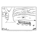 How to Draw a Bench under Tree Scenery