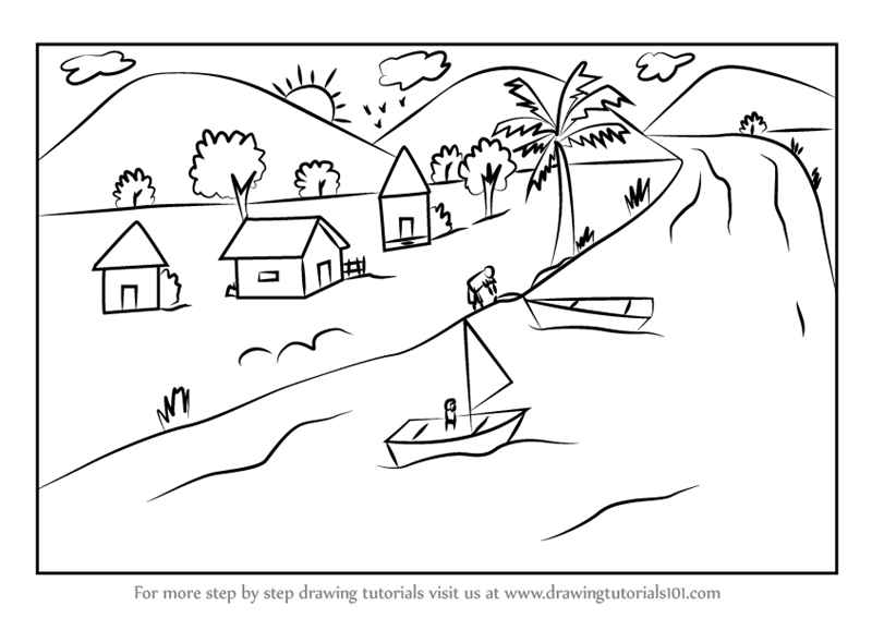 Learn How to Draw a Boating Scene (Scenes) Step by Step : Drawing ...