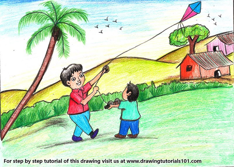 Boy Flying Kite Scene Color Pencil Drawing