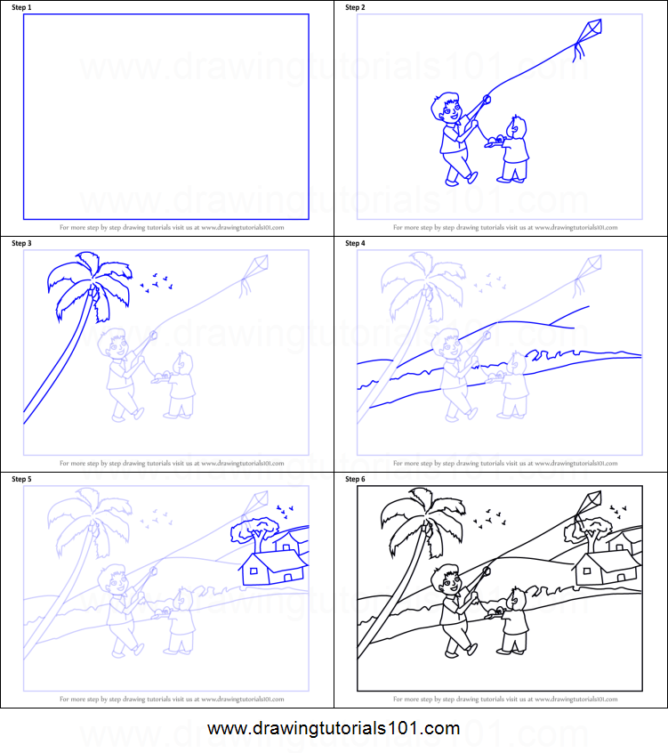 How to Draw a Boy Flying Kite Scene printable step by step ...