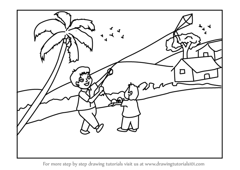 Step by Step How to Draw a Boy Flying Kite Scene ...