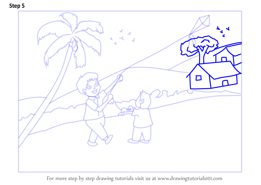 Learn How To Draw A Boy Flying Kite Scene Scenes Step By Step