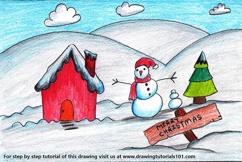 Christmas Scene Drawing.Christmas Snowman Scene Colored Pencils Drawing Christmas