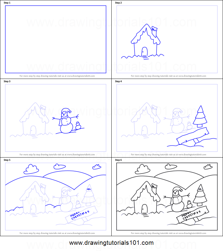 Christmas Scene Drawing.How To Draw A Christmas Snowman Scene Printable Step By Step