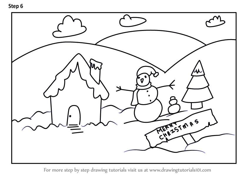 Christmas Scene Drawing.Learn How To Draw A Christmas Snowman Scene Scenes Step By